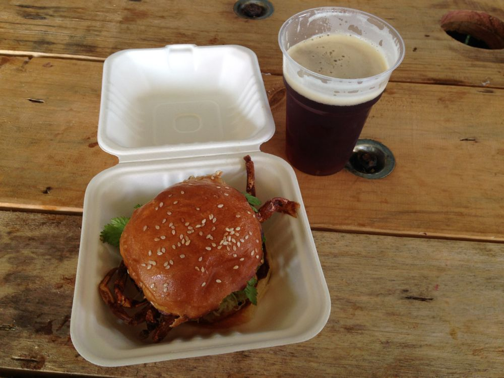 Deep fried crab sandwich and beer