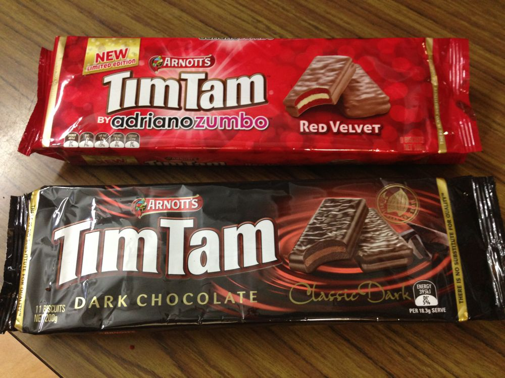Special edition red velvet Tim Tams and dark chocolate