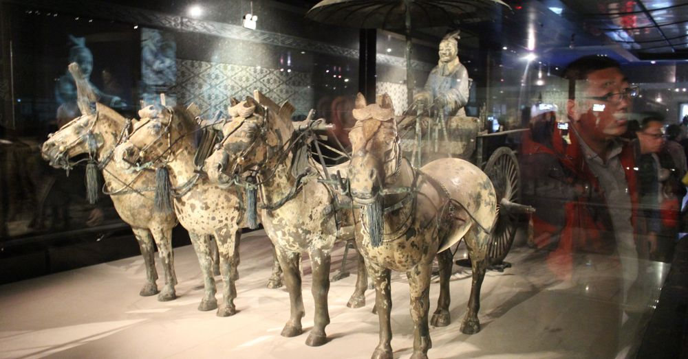 Half-size horses and chariot.