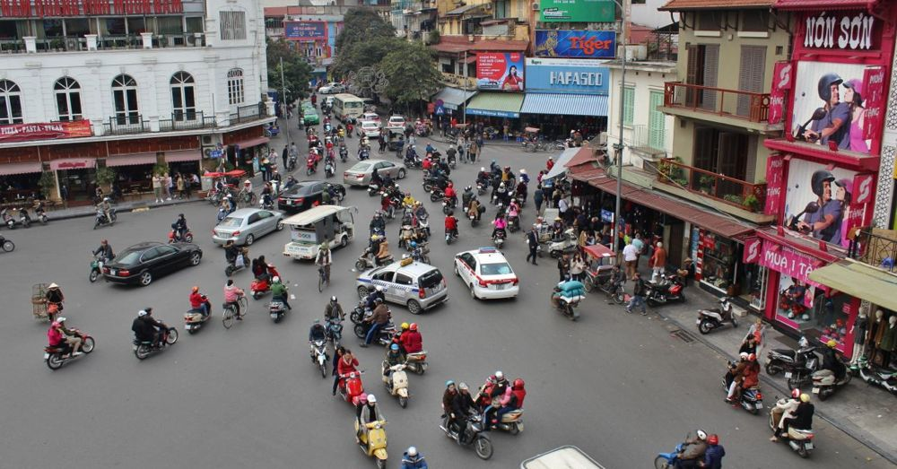 Vietnam traffic as seen from Highlands Coffee in Hanoi.