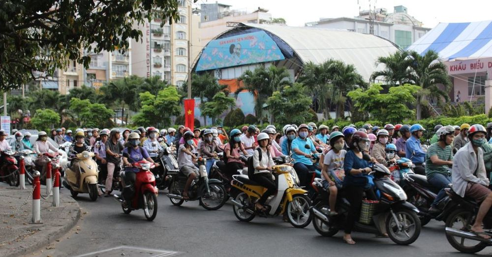 Motorbikes on parade: a normal street scene in HCMC.