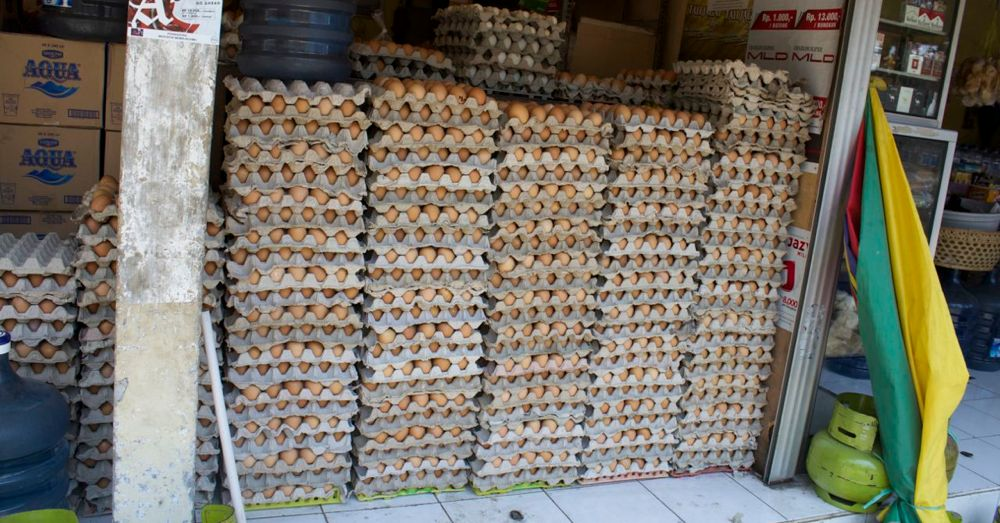 Stacks of eggs, Bali.