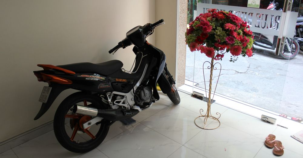Motorbike in the hotel lobby