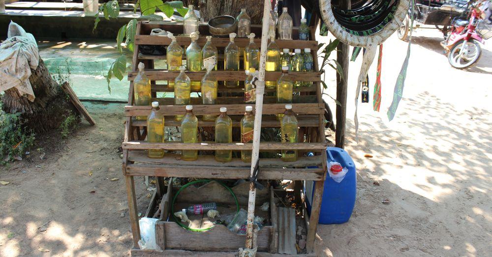 Petrol stand, Cambodia.