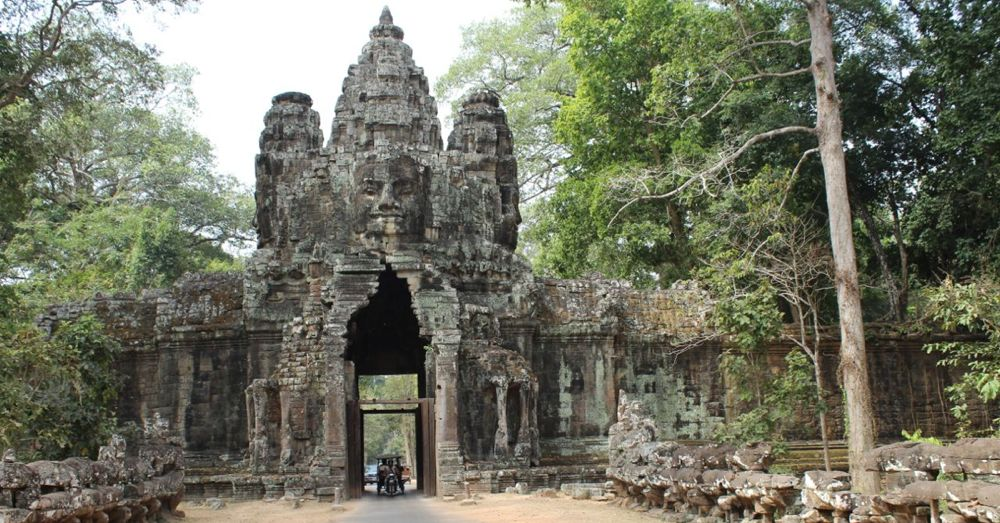 Victory Gate, on the east wall of Angkor Thom.