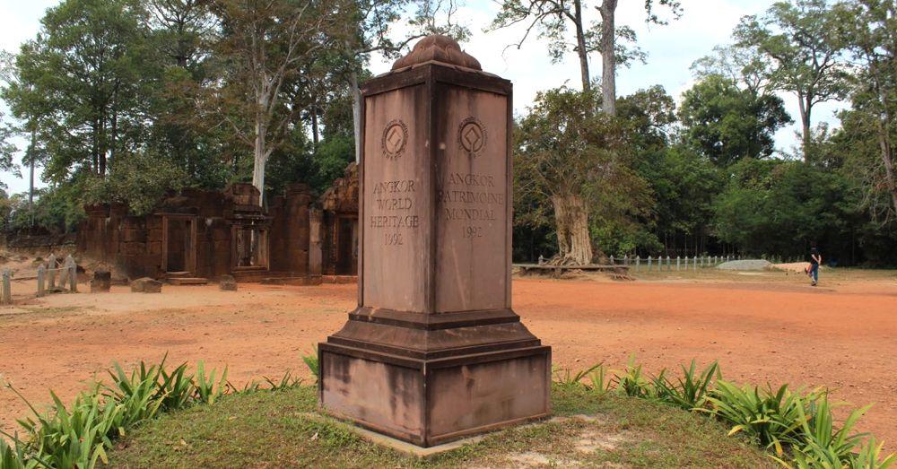UNESCO World Heritage Marker at Banteay Srey.