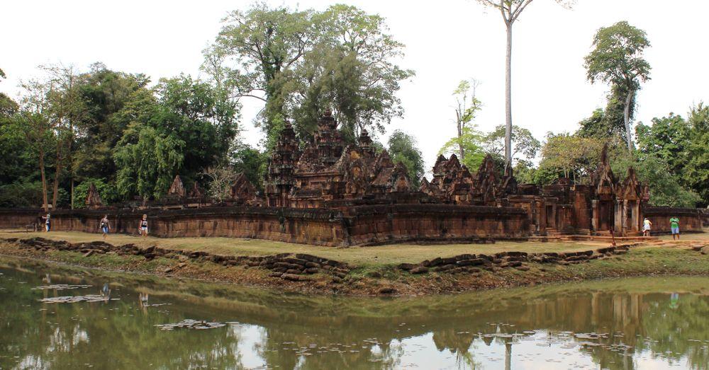 Banteay Srei across the moat.