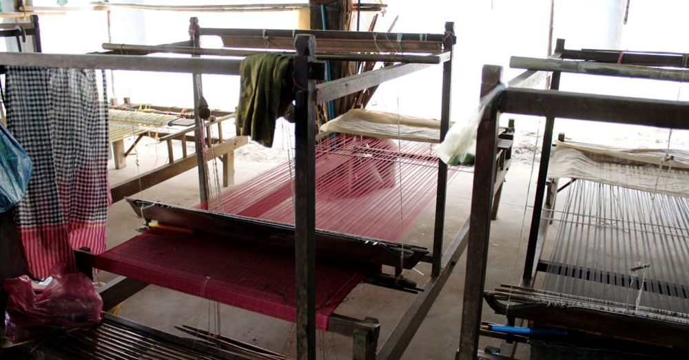 Hand-powered loom.