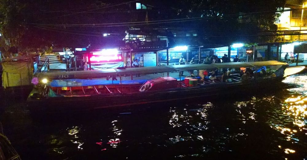 The water taxi at night, right before the last run of the day.