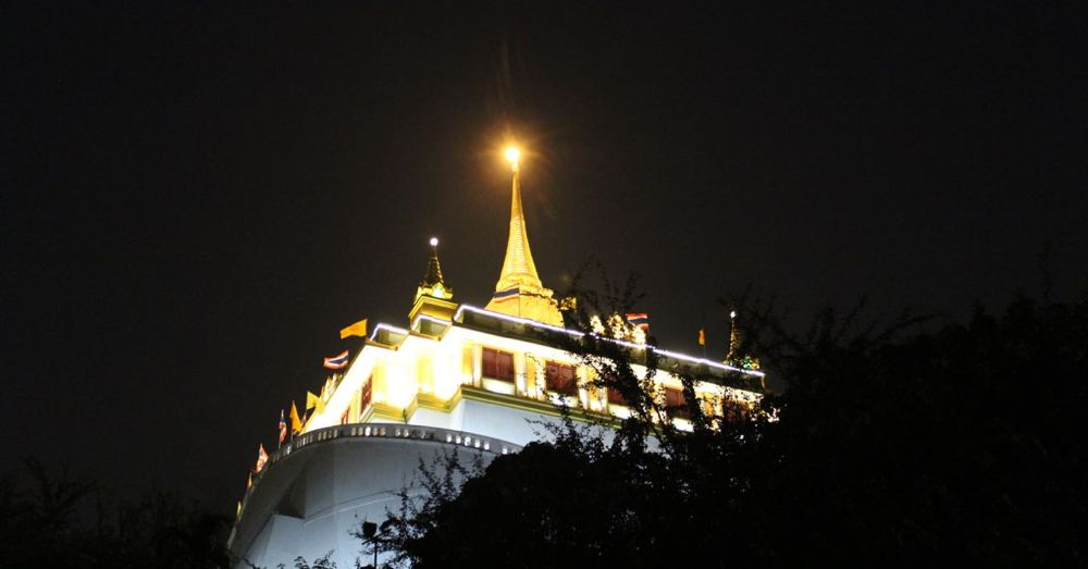 Golden Mount Temple at night.