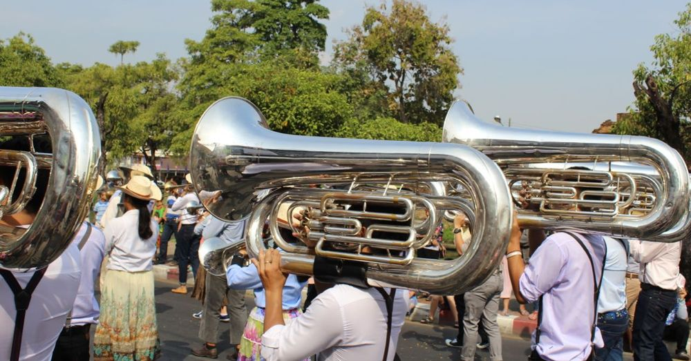 Tubas on parade.