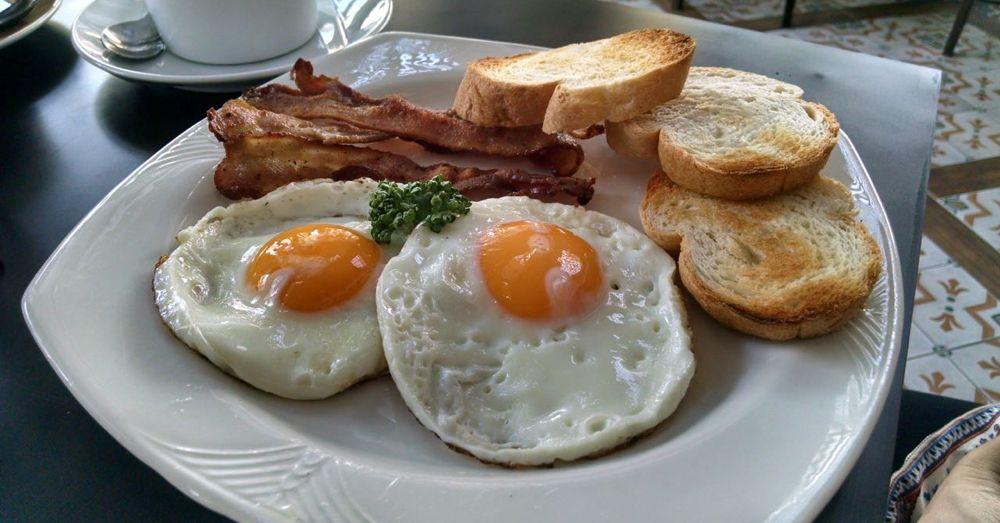 American breakfast. 99 baht.