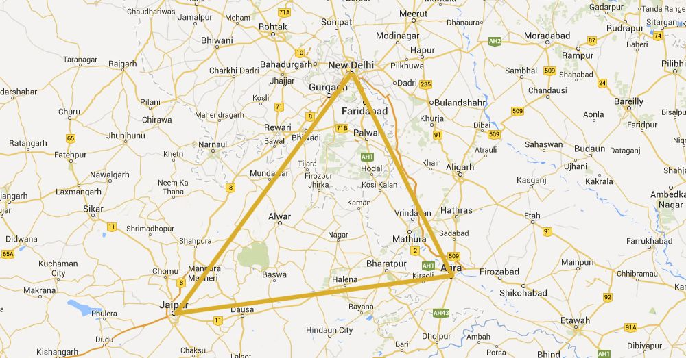 The Golden Triangle of India.