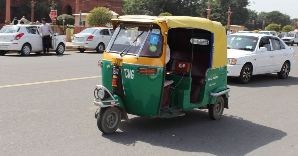 An Indian auto rickshaw.