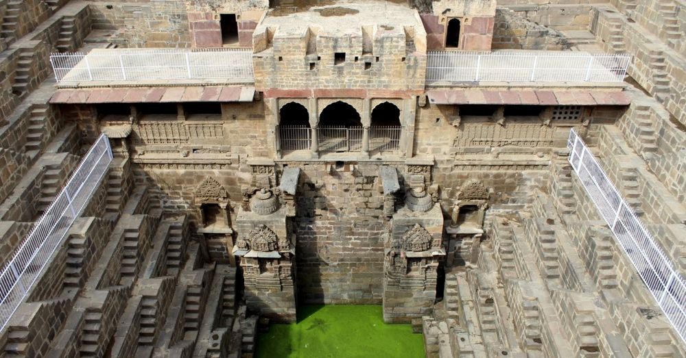 Chand Baori Palace and stepwell.