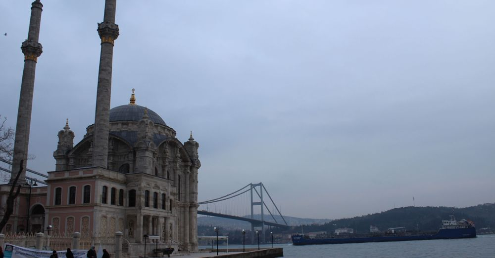 Ortaköy Mosque in front of the Bosphorous Bridge, daytime.