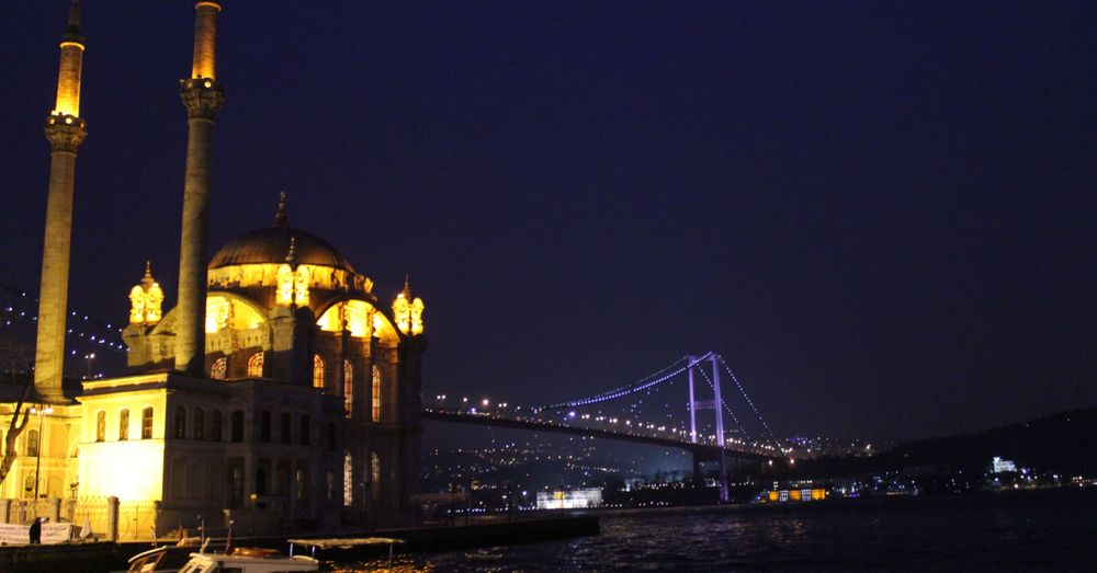Ortaköy Mosque in front of the Bosphorous Bridge, nighttime.