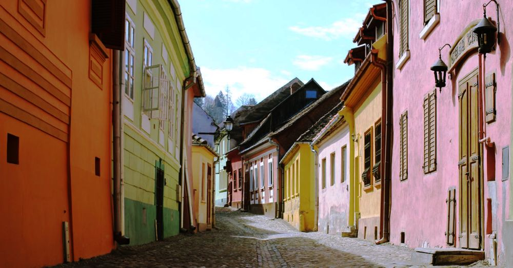 A frequently photographed street in Sighisoara.