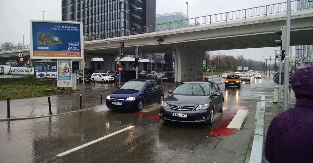 Rainy day traffic in Bucharest.