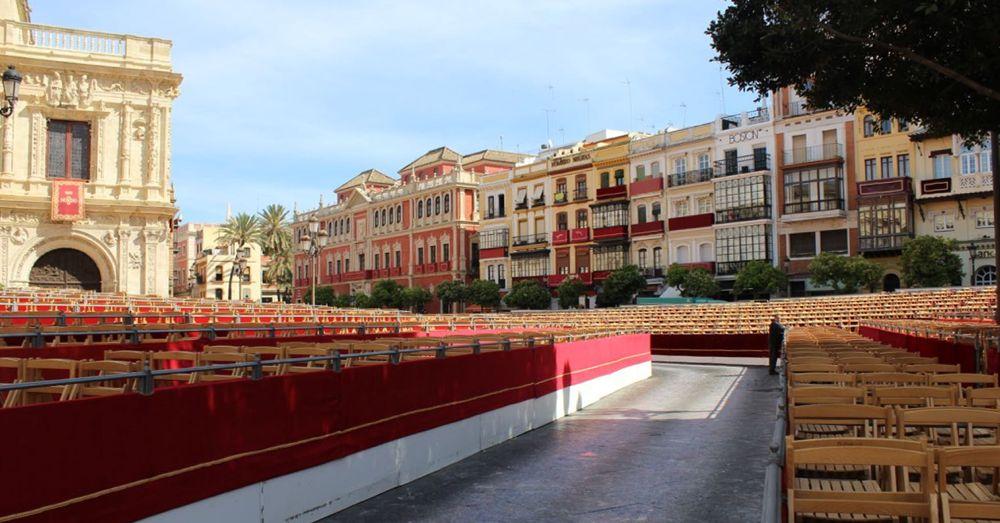 Seats for Seville's Maundy Thursday parade.