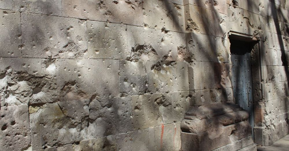 Bomb-damaged wall of the Church of Saint Felip Neri.