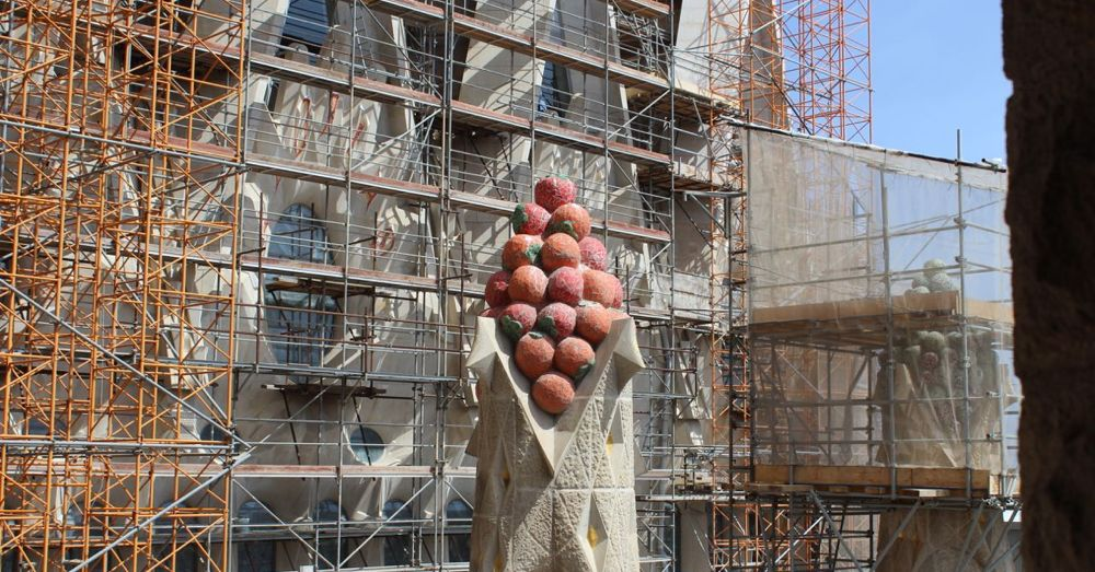 Close up of giant fruit on the Sagrada Familia.