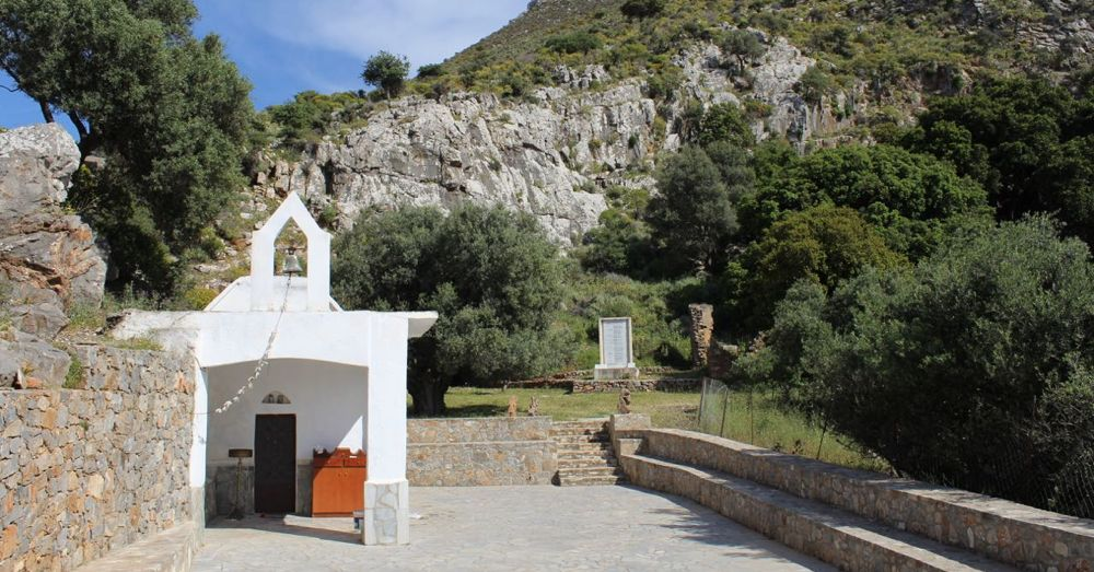 Small Cretan church in the hills.
