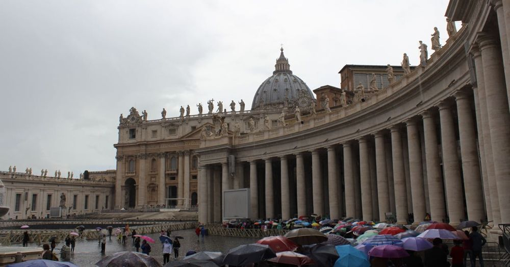 The line for St. Peter's Basilica is long, even in the rain.
