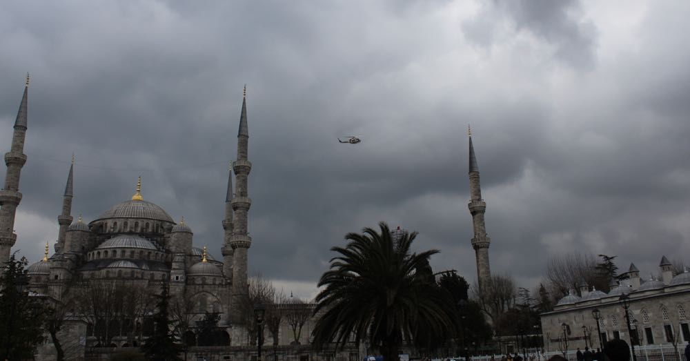 Blue Mosque with Helicopter