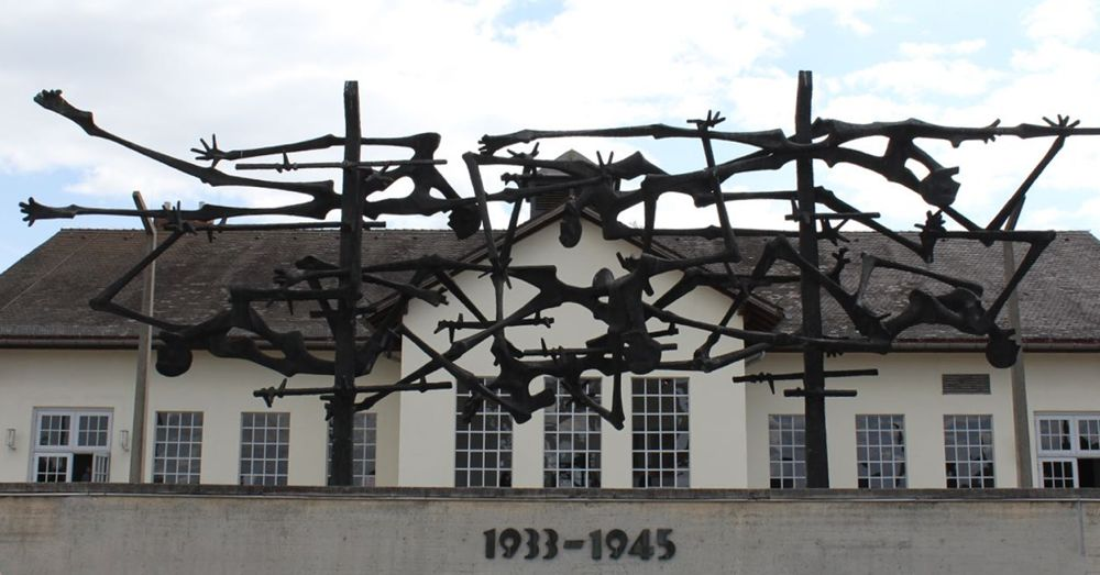 """In the Machine"" memorial sculpture at Dachau."