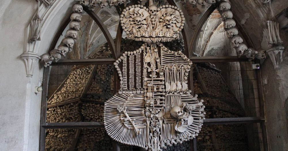 Bone shield crest at Sedlec Ossuary.