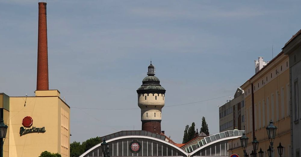 Iconic Pilsner-Urquell tower.