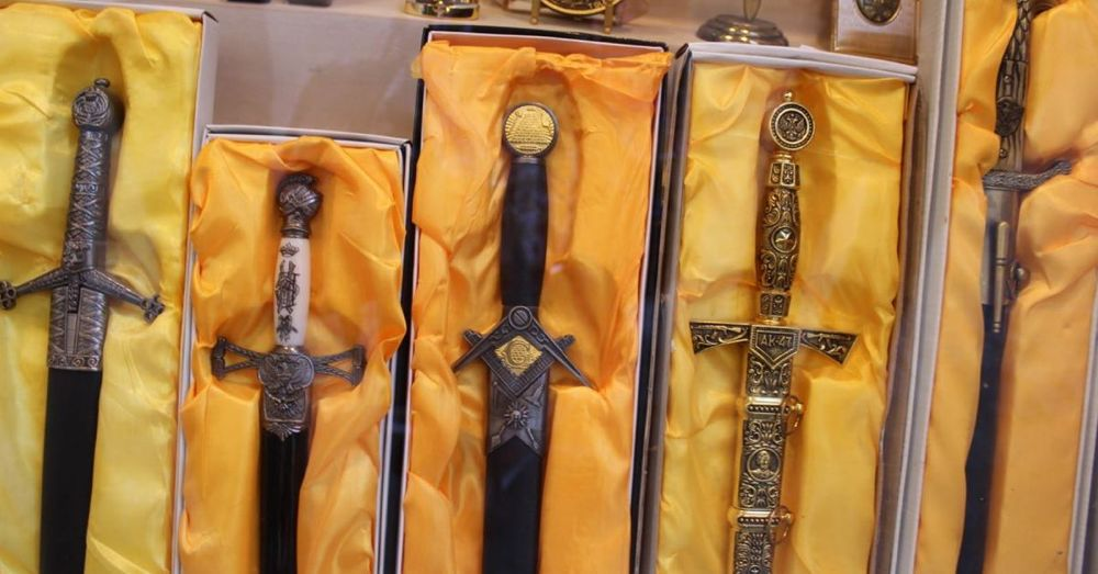Gold Damascene Freemason Swords