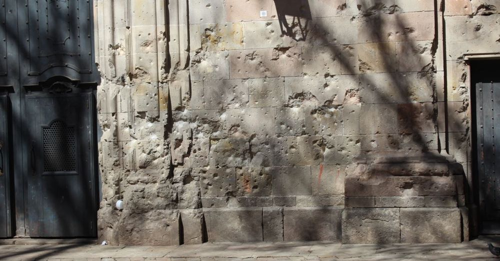 Bomb-damaged wall of the Church of Saint Felip Neri