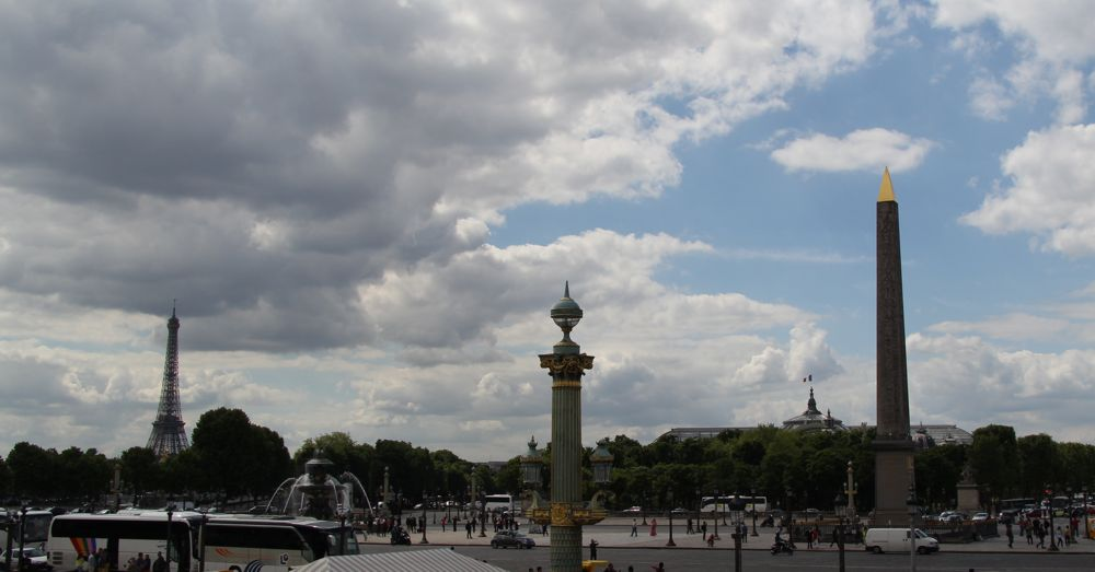 Place de la Concorde: Eiffel Tower, Fountain of River Commerce, Luxor Obelisk