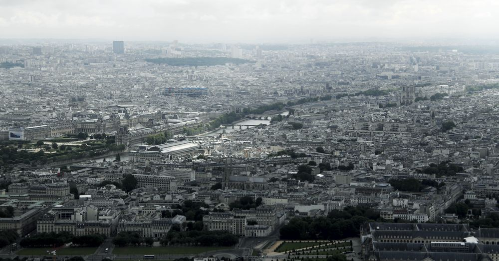 Paris: the Louvre (on the left) to Notre Dame (on the right) from the Eiffel Tower.