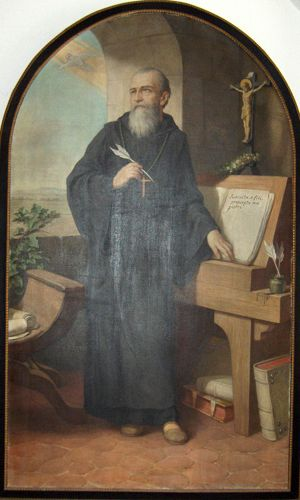 St. Benedict writes the rules. Public Domain image via  Wikimedia Commons .
