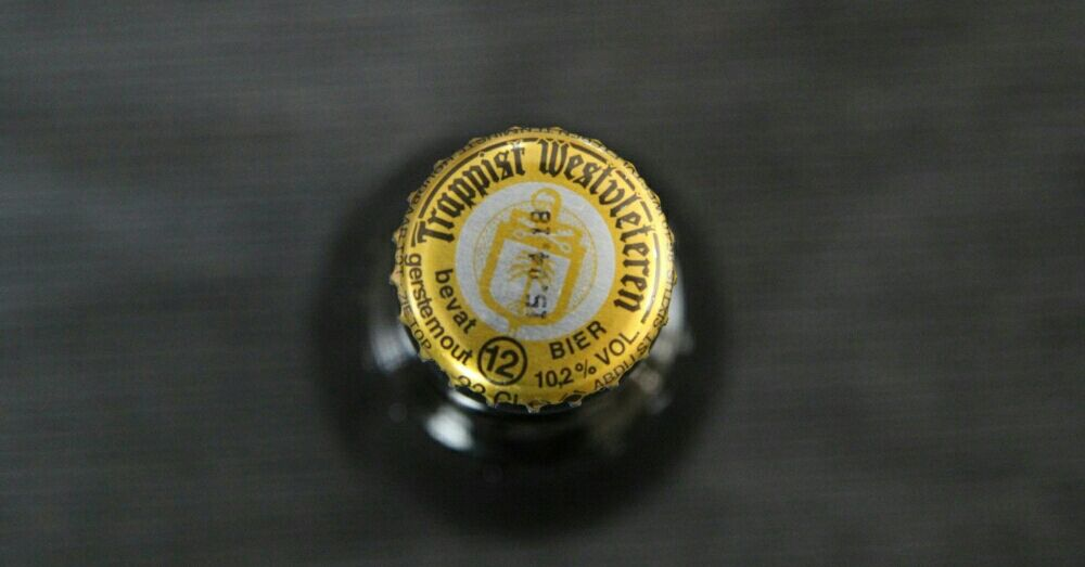 The gold cap on a bottle of Westvleteren 12.
