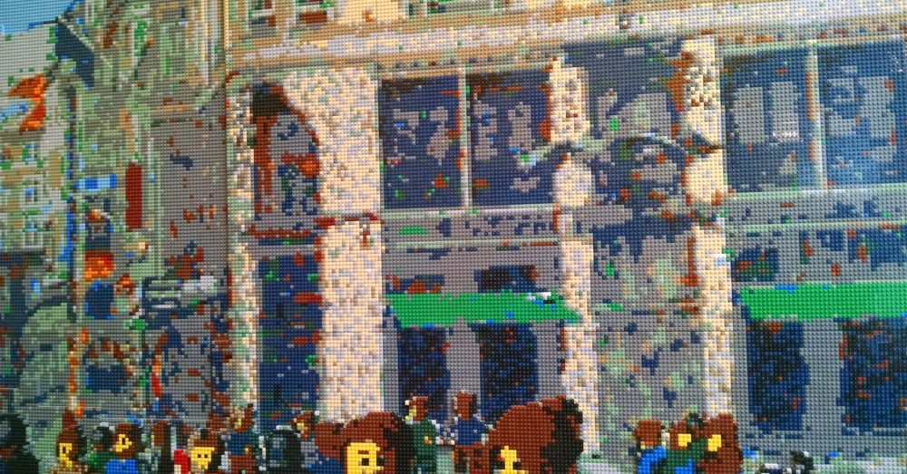 Lego Nyhavn Mural on the wall of Copenhagen's Lego Store.