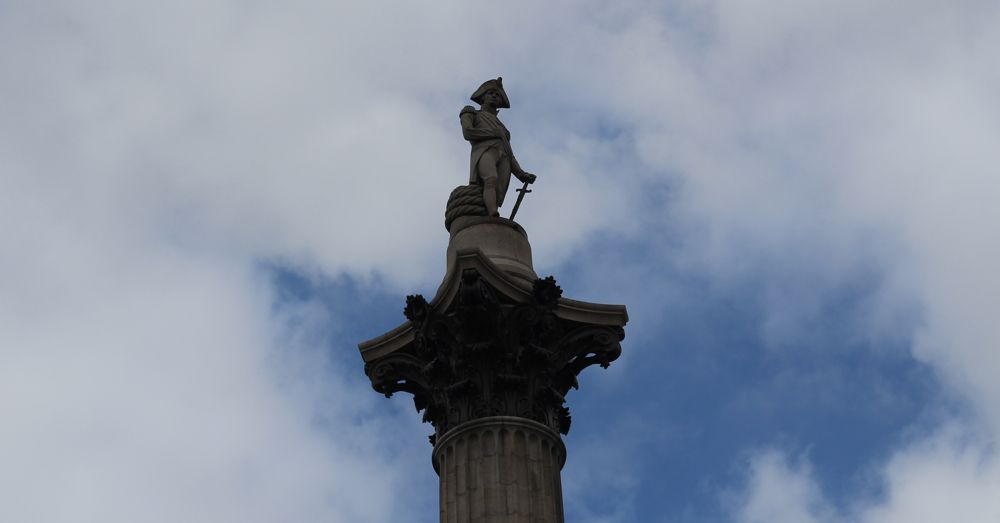 Lord Nelson remains vigilant atop his column.