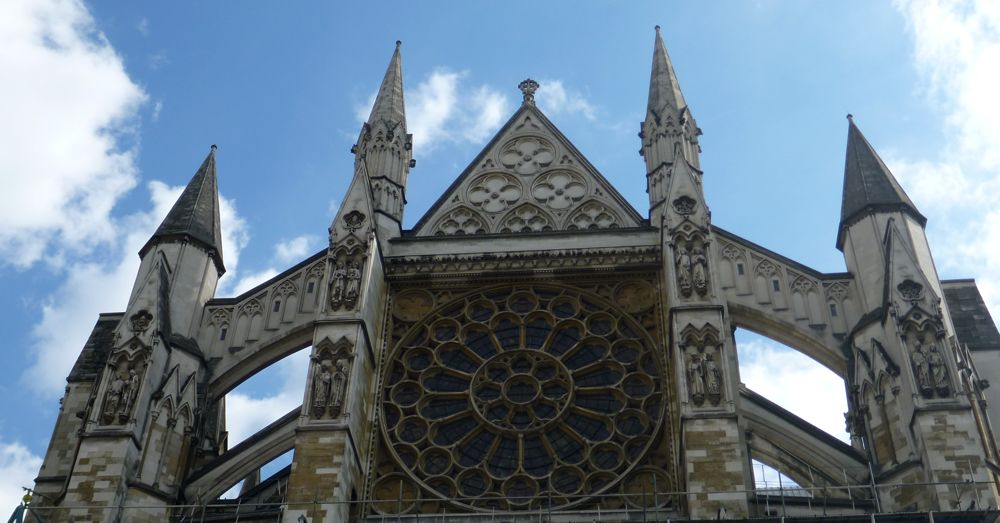 The Neo Classic Gothic Revival spires of Westminster Abbey.