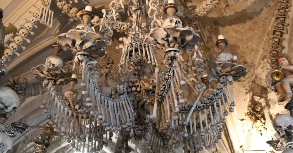 Skeletal Chandelier in Sedlec Ossuary