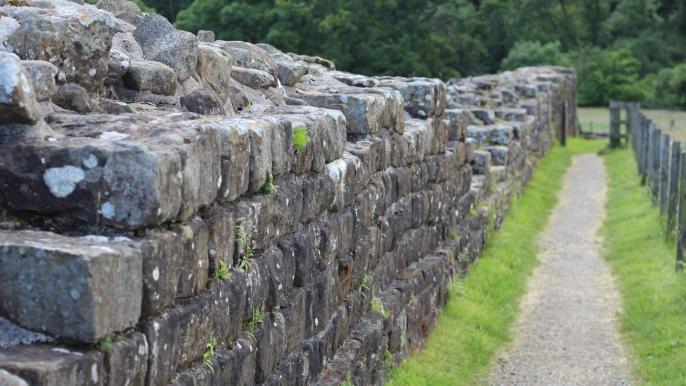 A section of Hadrian's Wall and the Hadrian's Wall Path