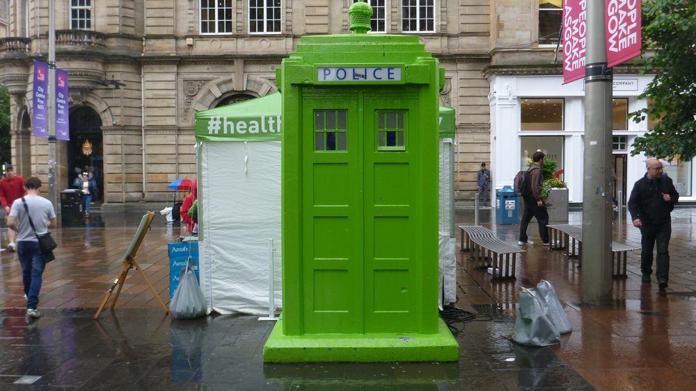 A green Tardis in Glasgow.