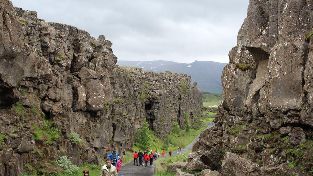 A path through Þingvellir National Park.