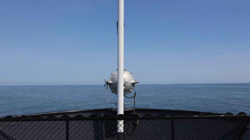 Looking east across Lake Michigan from the bow of the SS Badger.