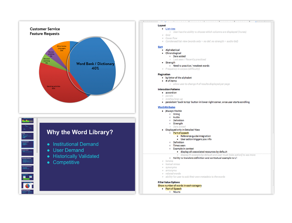 Identification of user needs (left) and organization of word attributes (right)