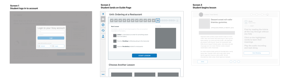 Guide Page Wireframe 1 – showing condensed unit tracker, expanded lesson detail, and gallery of resources