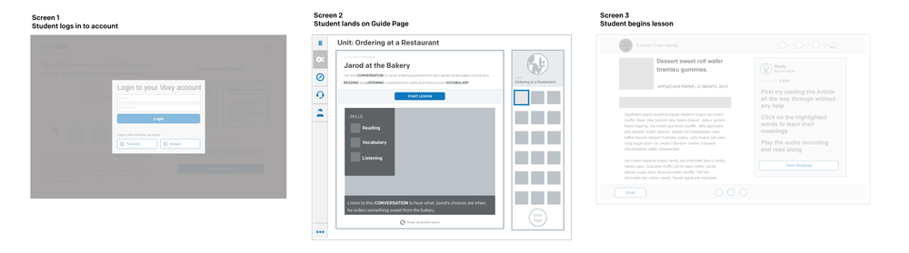 Guide Page Wireframe 2 – showing expanded lesson details and separate unit tracker