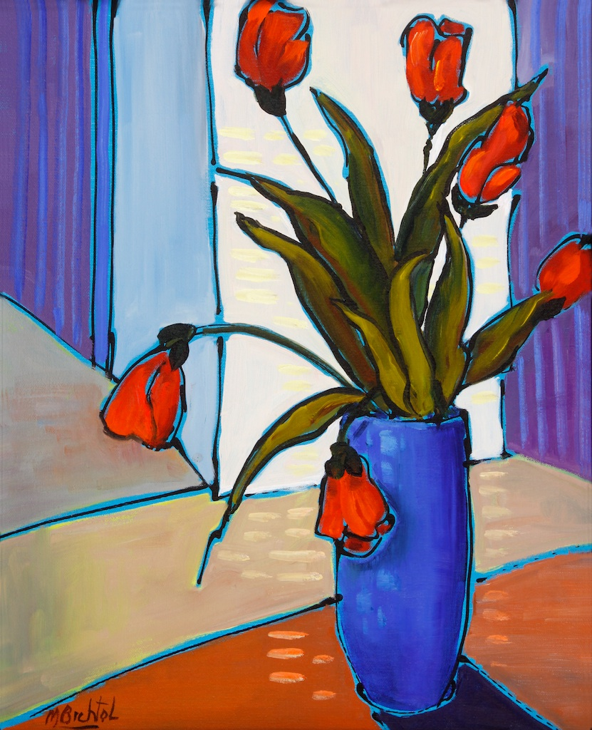 Blue Vase with Red Flowers